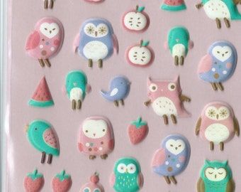 Japanese/ Korean Puffy Stickers - Owls , Fruits, and Birds