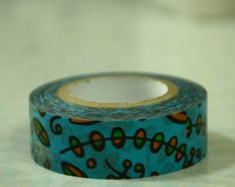 1 Roll of Japanese Washi Masking Tape (15mm x 10m) -Abstract Illustration