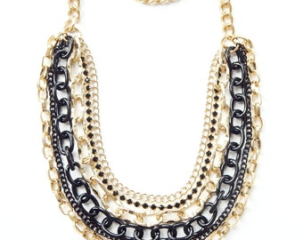 Black Statement Necklace chunky chain necklace statement jewelry crystal rhinestone ROYALS