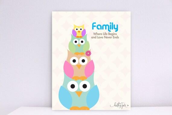 Family, Where Life Begins and Love Never Ends, Owl Family, Baby Nursery wall art, Wall Decor, Children wall art, Nursery Print, Art Print