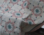 Quite Lovely Vintage Quilt in Shades of Greens, Pinks and Creams ECS