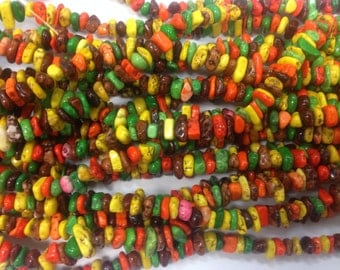 6-7mm irregular sized chip howlite beads, autumn mix colors