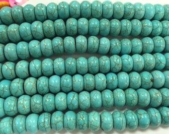 8x14mm rondelle howlite beads, 43beads