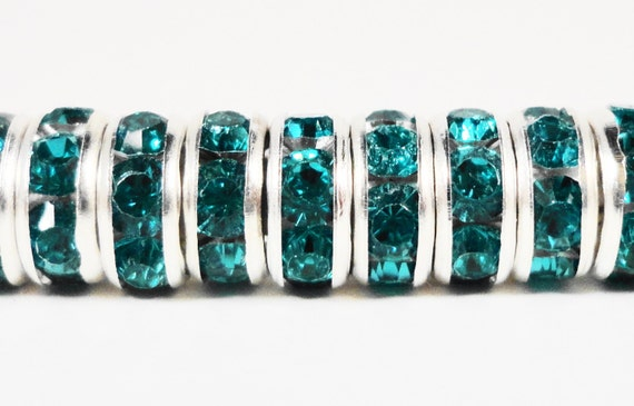 Rhinestone Rondelle Beads 8mm Peacock Blue Silver Plated Metal Acrylic Rhinestone Crystal Spacer Beads for Jewelry Making 50 Loose Beads