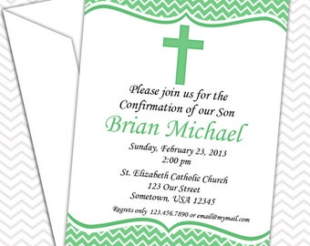 Green Cross Invitation PRINTABLE - Baptism Christening First Holy Communion