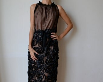 Black embroidered tulle formal evening dress. Cockail, party, ballgown, prom. Floor length. One of a kind.