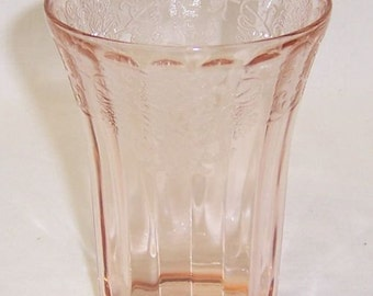 Hazel Atlas Depression Glass Pink Rayed FLORENTINE Number 1 POPPY Number 1 4 Inch Flat Water Tumbler