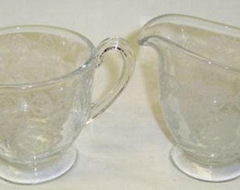 Fostoria Elegant Glass Crystal ROMANCE Creamer and Sugar Bowl Set