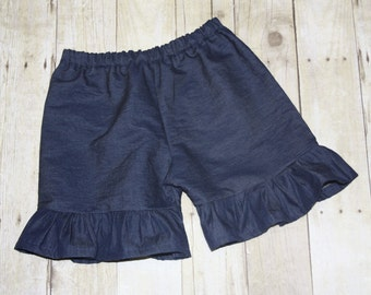 Denim Chambray Girls ruffle shorts, ruffle capris, or ruffle pants sz 12m, 18m, 24m/ 2, 3,4,5,6,7,8