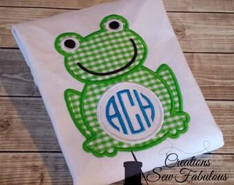 Monogram Frog Shirt - Personalized Frog Shirt - Frog Applique Embroidery Shirt - Frog Birthday Shirt - Girls Frog Shirt - Boys Frog Shirt