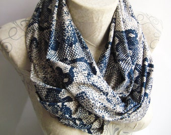 Snake Printed Jersey Infinity  Scarf in Navy Blue and Cream