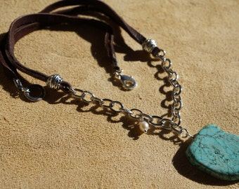 Turquoise and Suede Leather/Chain Necklace, Country Western