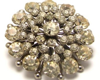 Round Clear Rhinestone Costume Brooch Pin Silver Tone prong Set - Vintage # 3094