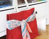 15 % ON SALE Large Burlap Tote Bag : Shopping Bag - Beach Bag - Groceries Bag - Cotton Handles
