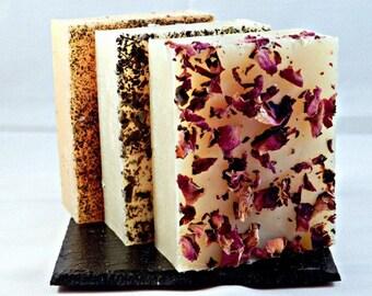 Set of 3 Natural Handmade Cold Process Soap Bars - Any 3 Bars of Handmade Soap