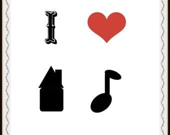 I heart house music print art decor