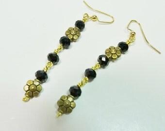 Vintage Inspired Dangle Earrings, Black and Bronze Dangle Earrings, Flower Earrings