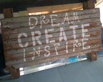 Large Handpainted Sign - Dream, Create, Inspire