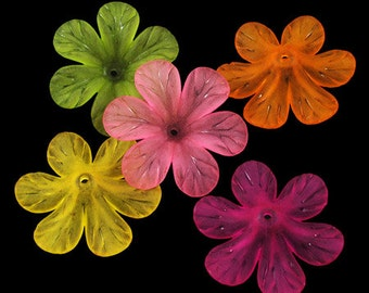 Bulk Beads Flower Beads Assorted Colors Wholesale Beads Lucite Acrylic 33mm 50 pieces