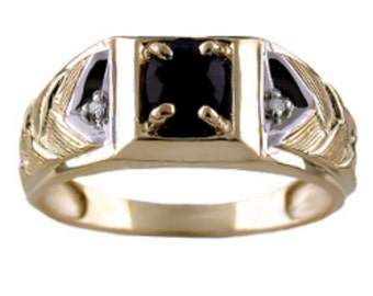 Mens Genuine Sapphire Ring Sterling Silver or Gold Plated Sterling Silver