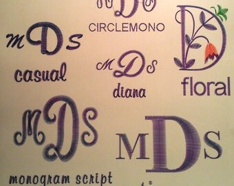 MONOGRAM EXAMPLES Do not purchase this listing