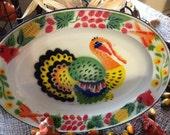 Vintage Enamel Metal Oval Thanksgiving Turkey Platter With Vegetables