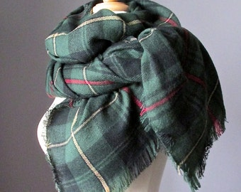 Tartan scarf, plaid scarf, blanket scarf, oversized winter scarf