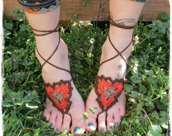 Barefoot Sandals-Crochet-Festival-Yoga-Accessories-Foot Wrap-Hippy-Boho