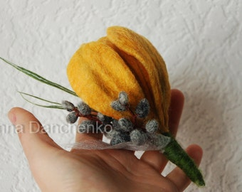 Yellow Crocus and Pussy-willow - felted broch - Spring Felt Flower Pin Brooch