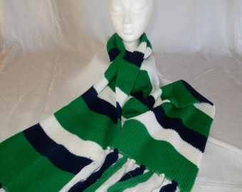 Vintage-crocheted-green-white-navy-blue stripe scarf