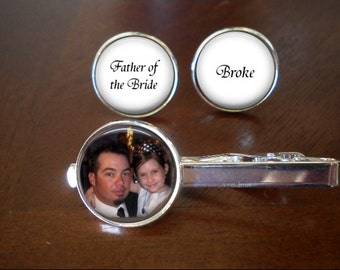 Father of the Bride Cufflinks and Tie Clip Set
