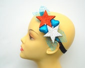 patriotic headband, glitter stars hearts headband, girl hair clip, photo prop, Fourth of July,  blue red white weddings accessory