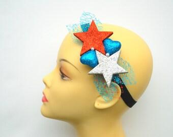 patriotic headband, glitter stars hearts headband, girl hair clip, photo prop, Fourth of July,  blue red white weddings accessory