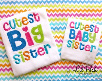 Girls Matching Shirt Set: Cutest Big Sister Cutest Baby Sister