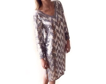 vintage ART DECO inspired silver chevron SEQUINED dress