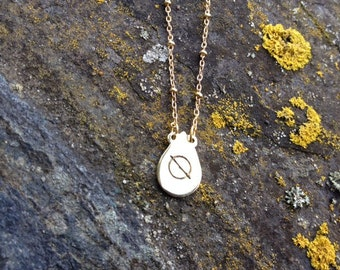"""Hobo symbol """"Good Road to Fallow"""" Lost-wax brass pendant necklace."""