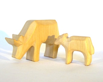 Wooden Cow with Calf, Miniature carved farm animals,