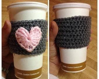 Valentine Coffee Cuff, Crochet Heart Coffee Cuff, Go Green No More Paper Sleeves