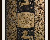"Vintage Book Cover Edmund Dulac's ""Fairy Book"" -  Circa 1900 -  Giclee Art Print on Canvas"