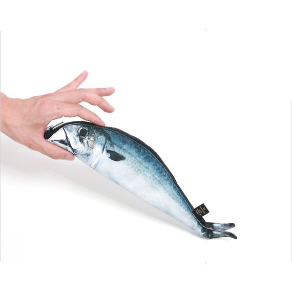 Mackerel fish zipper pouch weird pen pencil case for Fish pencil case