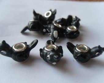 5 Black Bird Lampwork Glass Euro Beads 30x10mm    -D2C1-1