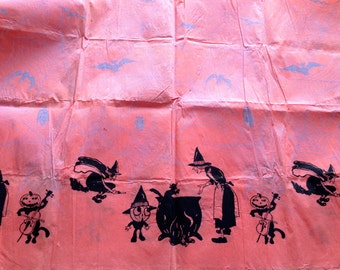 LARGE Antique Halloween Dennison Crepe Paper Table Cloth Early 1920s Flying Witches Bats Jack O Lantern Halloween Decor Display