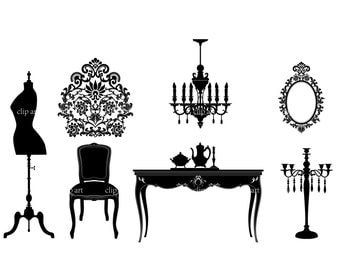 wedding room silhouette digital clipart vector eps png  files black Clip Art Images Instant Download