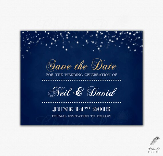 Starry Night Save The Date Printed Wedding Chalkboard Royal