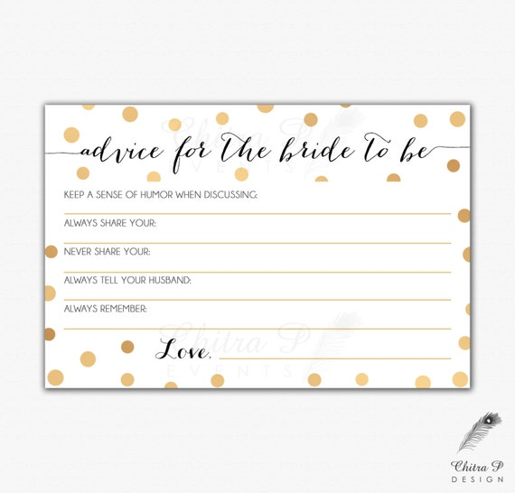 Gold black bridal advice card printed or printable instant for Bridal shower advice cards template