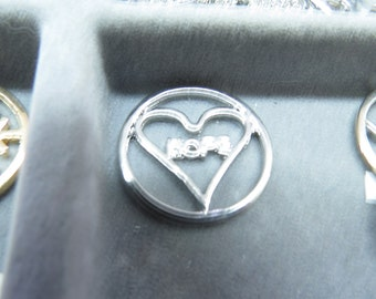 Heart HOPE Floating Charm for 30mm Floating Pendant. Free Shipping!