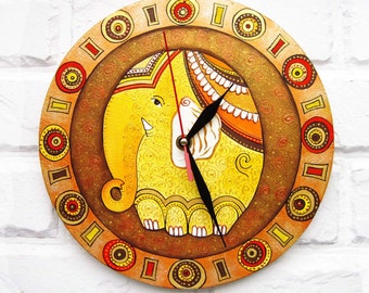 Warm Elephant  Wall Clock, Orange Home Decor, Modern wall clock without numbers, wood clock, white home decor, kids gift, for Office