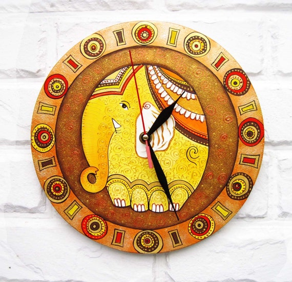 The Warm Elephant  Wall Clock Orange Home Decor
