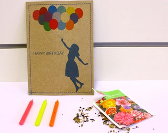 SALE - Card - Happy Birthday - with a balloon girl print, handmade and filled with a sachet of flowerseeds