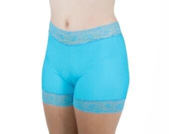 Biker Shorts Spandex and Lace Trim Turquoise Blue